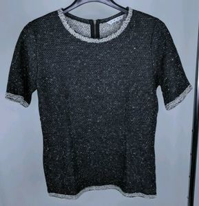 Cabi S Top Coco Shell #542 Black Knit French Terry